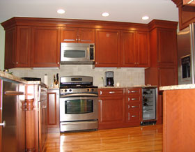 kitchen cabinets with built in microwave